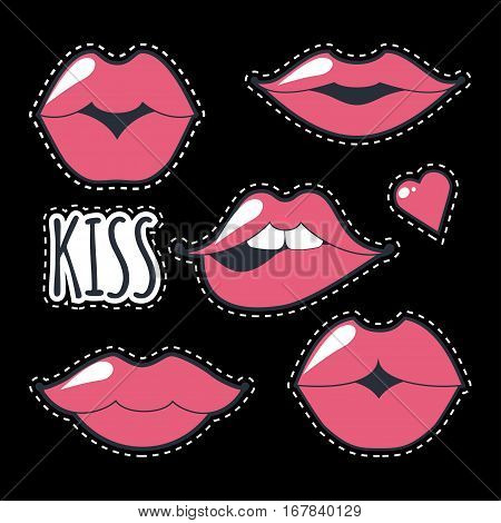 Different women's lips vector icon set isolated from black background. Pink lips close up girls. Shape sending a kiss, kissing lips. Collection of women's mouths and multicolored lips symbol.