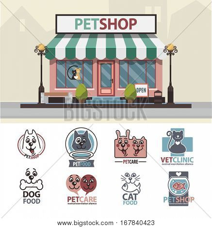 Veterinary pet shop for animals. Facade exterior view of animals market with vet logo badges collection set. Vector Illustration.