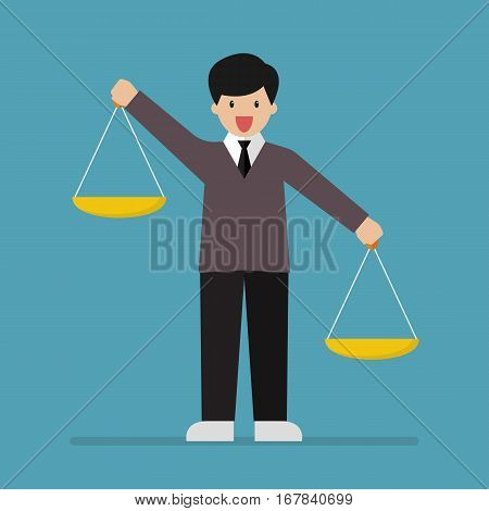 Businessman carrying a balance scale with both hands. Vector illustration
