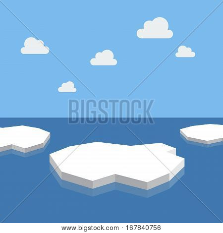 Ice floes in the sea. vector illustration