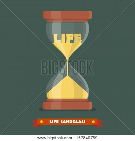 Life sandglass in flat style. Aging and longevity concept