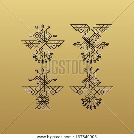 Tribal Owl Symbol. Ornate owl symbol in tribal style. Line Art Design. Owl Icon. Lineart Illustration.