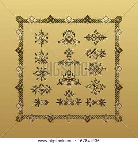 Set of Vintage Graphic Elements for Design. Line Art Design for Invitations, Posters. Linear Element. Geometric Style. Lineart Vector Illustration. Geometric Linear Border, Divider. Page Decoration.