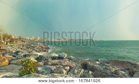 Beautiful View Of The Sea And The Coast In Moda, Istanbul City