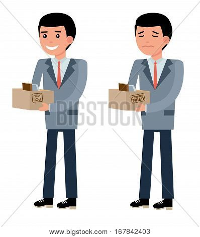 The young officer smiles with joy when he took the job, and sad at the dismissal. New job, hiring and dismissal concept. Set in flat design. Cartoon vector flat-style illustration
