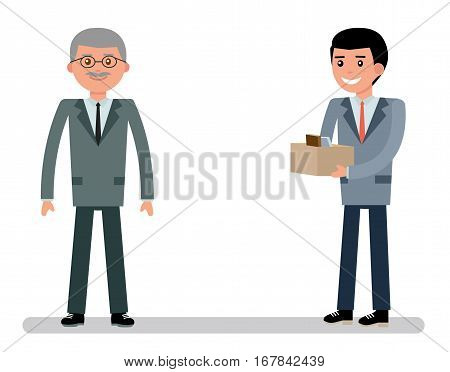 The boss took a young employee at work. Cartoon vector flat-style illustration