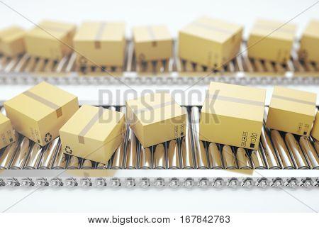 Packages delivery, packaging service and parcels transportation system concept, cardboard boxes on conveyor belt. 3d rendering