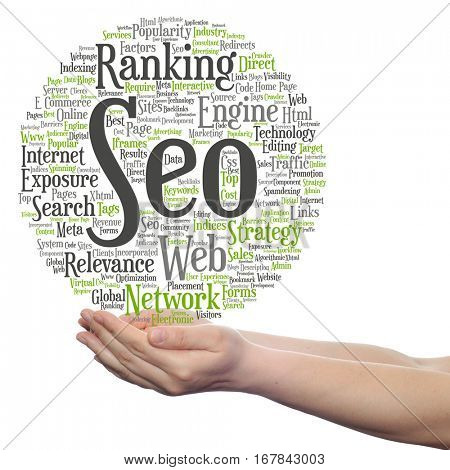 Concept or conceptual search engine optimization, seo abstract word cloud in hand isolated on background metaphor to networking, community, technology, advertising, global, worldwide tagcloud