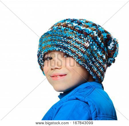 Blue hat and vest clothing boy on white background