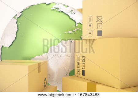Cardboard box shipping and worldwide delivery business concept, earth planet globe, 3d rendering. Elements of this image are furnished by NASA