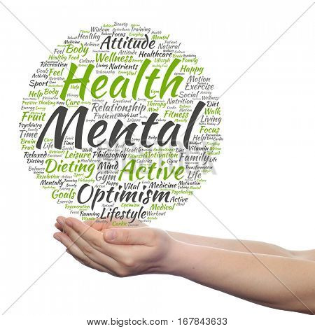 Concept conceptual mental health or positive thinking abstract word cloud held in hands isolated on background metaphor to optimism psychology, mind, healthcare, thinking, attitude, balance motivation