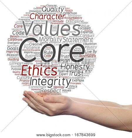 Conceptual core values integrity ethics circle concept word cloud in hands isolated on background metaphor to honesty, quality trust, statement, character, important, perseverance, respect trustworthy