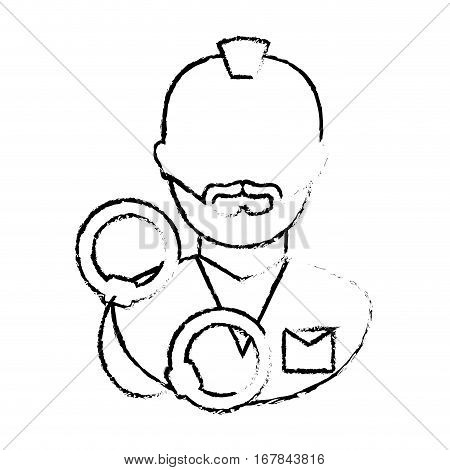 figure arrested man with handcuffs icon, vector illustration