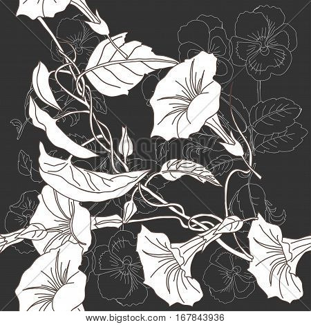 Seamless pattern with pansies and bindweed.Spring  Vector Illustration