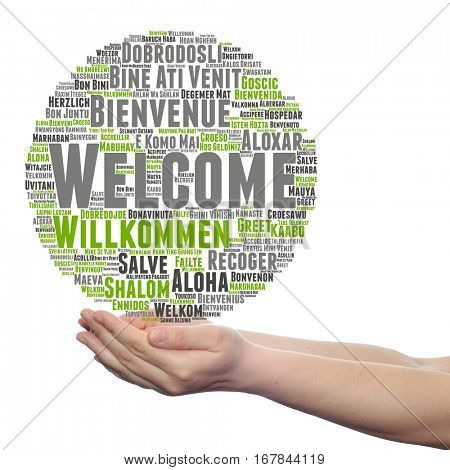 Concept conceptual abstract welcome greeting international word cloud in hand, different languages  multilingual isolated metaphor to world, foreign, worldwide, travel, translate, vacation or tourism