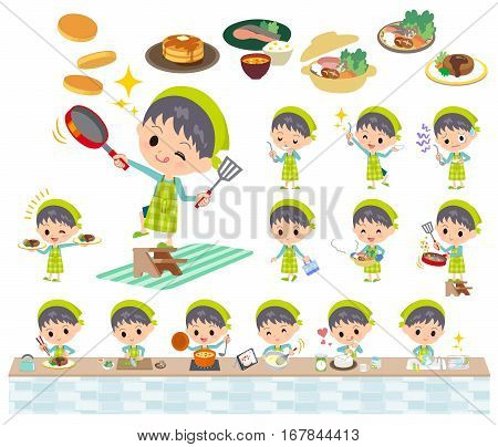Set of various poses of blue clothing boy cooking