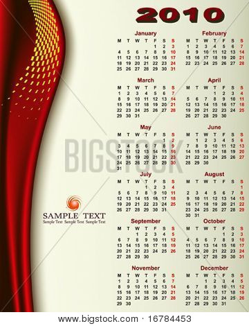 Calendar 2010 with Copy space