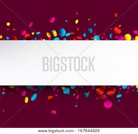 Festive purple background with colorful glossy confetti. Vector illustration.