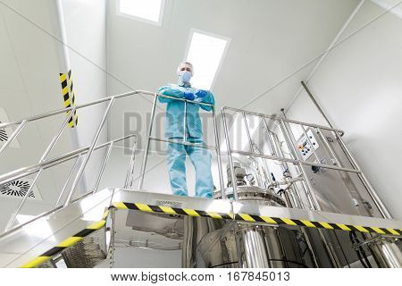 Plant Picture, Scientist Standing On Ladder