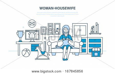 Woman housewife, in a comfortable, quiet environment, knitting on the couch, and is engaged in household chores. Interior room. Illustration thin line design of vector doodles, infographics elements.