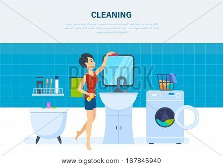 Young housewife in the bathroom, is engaged in cleaning service, wiping dust, cleans out clutter, against the background of an interior room. Vector illustration. Can be used in banner, app, design.