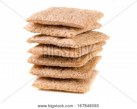 stacked crisp bread isolated on white background.