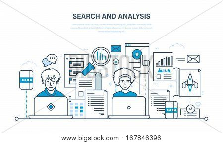 Search and analysis of information, communication and services, marketing and research, management information system. Illustration thin line design of vector doodles, infographics elements.