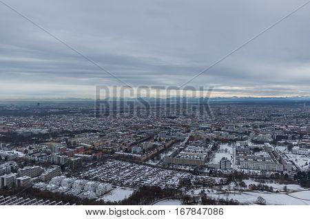 MUNICH - JANUARY 30: Aerial view of Munich