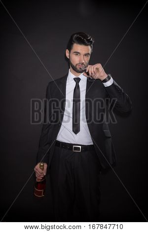 One Young Man Drinking Glass Alcohol Wine Bottle
