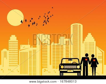 Couple with car on the city background, vector