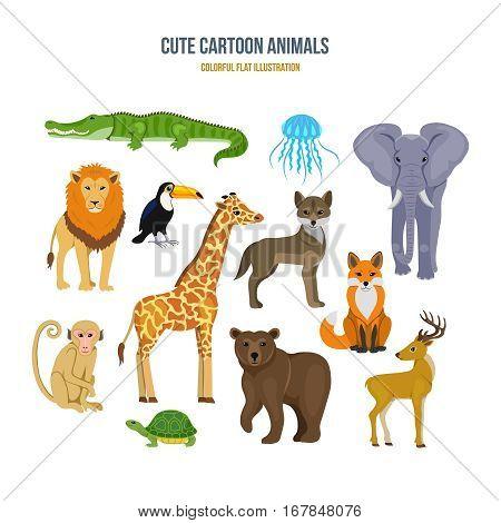 Cute cartoon animals concept. Among the animals: crocodile, jellyfish, elephant, lion, toucan, wolf, fox deer bear giraffe turtle monkey Colorful flat illustration