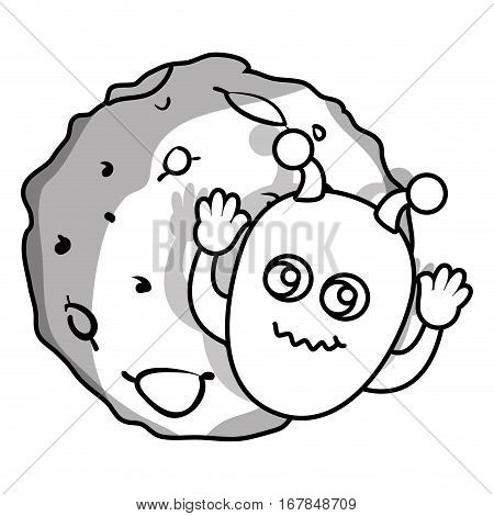 moon of the solar system with martian vector illustration design