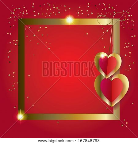 Valentine's Day or Wedding Day greeting card with hearts, gold frame, glitter confetti festive red background. Vector border. Romantic poster with hearts, festive background. Love, poster, banner, e-card, postcard envelope. Advertising, design, Origami Cu