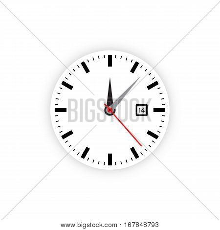 Vector image of minimalistic clock dial white with black ticks time, different shapes of round and square, isolated on background. The timer is divided into 60 parts