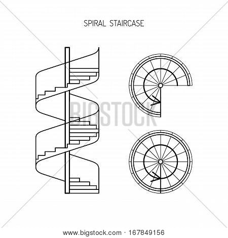 spiral staircase vector image in a linear fashion