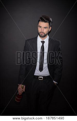 Young Man Bottle Alcohol Glass Wine Suit Elegant