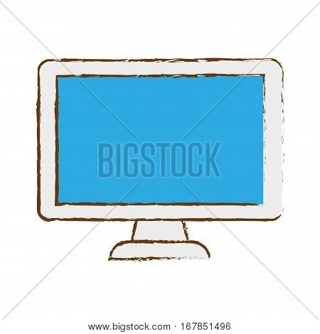 computer frontview icon image sketch style  vector illustration design
