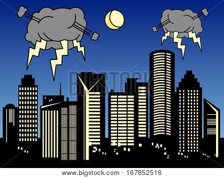 Storm clouds in the city, vector illustration