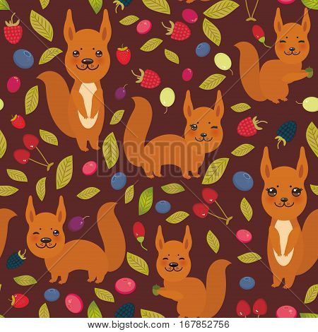 seamless pattern with red squirrel Cherry Strawberry Raspberry Blueberry Cranberry Cowberry Goji Grape on dark vinous background. Vector illustration