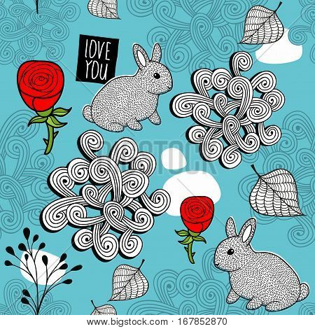 Romantic seamless pattern with cute rabbits and red roses. Vector illustration of nature.