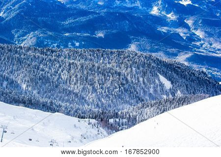 hill, russia, snowy, white, travel, view, rock, trees, sunny, valley, shadow, top, ice, slope, clouds, forest, high, blue, winter, mountain, outdoors, sky, caucasus, beautiful, background, snow, peak, nature, vacation, landscape