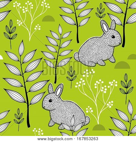 Summer pattern with cute little animals in the forest. Vector seamless background.