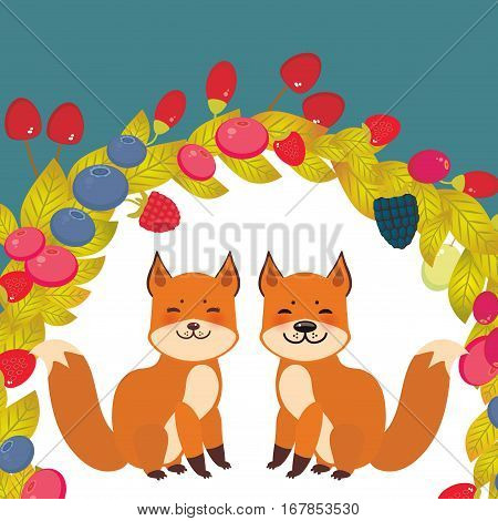 Round wreath cute kawaii fox with Cherry Strawberry Raspberry Blackberry Blueberry Cranberry Cowberry Goji Grapes on blue background. Vector illustration