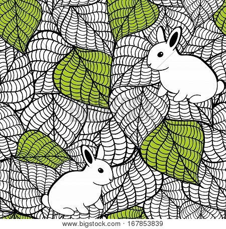 Seamless pattern with spring leaves and cute small rabbits. Vector illustration.