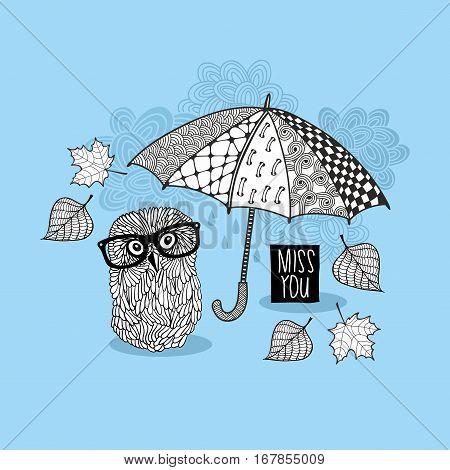 Smart owl under the umbrella. Vector illustration.