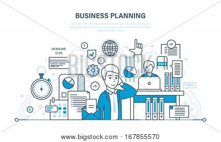 Business planning concept. Organizing workflow, analysis and statistics, teamwork. Illustration thin line design of vector doodles, infographics elements.
