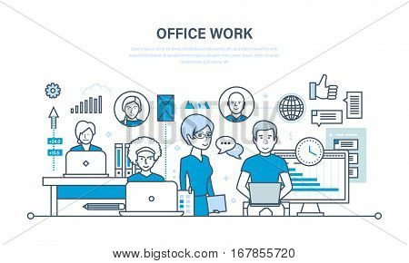 Office workplace, teamwork, performance evaluation and analysis of results, planning and control. Illustration thin line design of vector doodles, infographics elements.