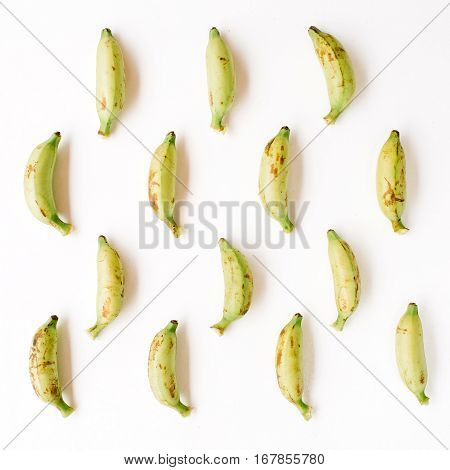 Arranged bananas pattern. Flat lay top view. Creative food concept
