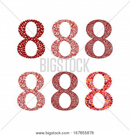 8 March greeting card elements. Template for International Women's Day with numeral 8 containing a lot of little hearts. Ideal for invitations posters cards banners flyers postcards etc