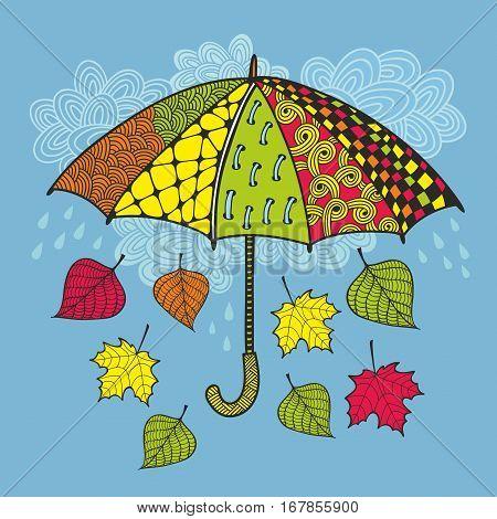 Colorful umbrella and autumn wind. Vector illustration.